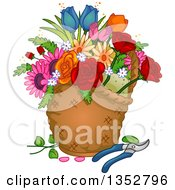 Clipart Of A Basket With Flowers And Pruners Royalty Free Vector Illustration by BNP Design Studio