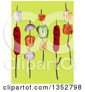 Clipart Of Meat And Vegetable Kebabs Over Green Royalty Free Vector Illustration