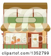 Clipart Of A Cafe Building Facade Royalty Free Vector Illustration