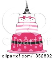 Clipart Of A Pink Parisian Cake With An Eiffel Tower Topper Royalty Free Vector Illustration