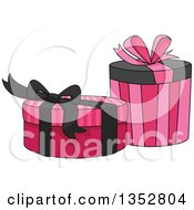 Clipart Of Pink And Black Gifts Or Boxes Royalty Free Vector Illustration