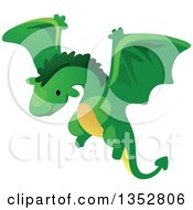 Clipart Of A Cute Flying Green Dragon Royalty Free Vector Illustration