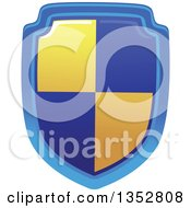 Clipart Of A Blue And Yellow Shield Royalty Free Vector Illustration