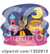 Clipart Of Wizard Houses Under A Crescent Moon Royalty Free Vector Illustration by BNP Design Studio