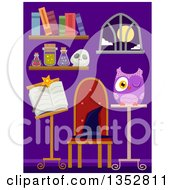 Clipart Of A Purple Room With Wizard And Witchcraft Items Royalty Free Vector Illustration by BNP Design Studio