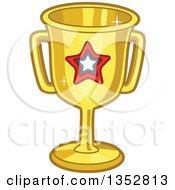Clipart Of A Gold Trophy With A Star Royalty Free Vector Illustration by BNP Design Studio