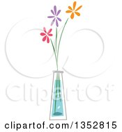 Clipart Of A Vase With Pink Purple And Orange Flowers Royalty Free Vector Illustration by BNP Design Studio