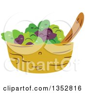 Clipart Of A Salad Bowl Royalty Free Vector Illustration by BNP Design Studio