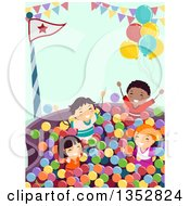 Clipart Of A Group Of Children Playing In A Ball Pit Royalty Free Vector Illustration
