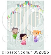 Clipart Of Children Playing At A Foam Party Royalty Free Vector Illustration by BNP Design Studio