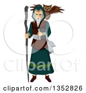 Clipart Of A Mage With An Owl Familiar Spirit Royalty Free Vector Illustration by BNP Design Studio