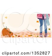 Clipart Of Legs Of A Girl With Autumn Leaves And Pumpkins Royalty Free Vector Illustration