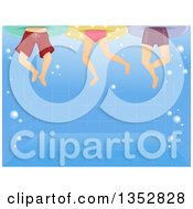 Clipart Of Legs Of Children Swimming In A Pool Royalty Free Vector Illustration