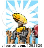 Clipart Of Woodcut Football Team Hands Holding Up A Trophy Royalty Free Vector Illustration