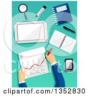 Clipart Of Hands Of A Business Man Preparing A Financial Report Royalty Free Vector Illustration by BNP Design Studio