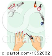 Female Hands Applying Police Over Green With Tools