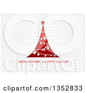 Clipart Of A Merry Christmas And Happy New Year Greeting Under A Red And White Tree Over Stripes Royalty Free Vector Illustration