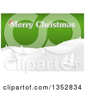 Clipart Of A Merry Christmas And Happy New Year Greeting With A Santa Hat Over Gold And Snowy Hills With Evergreens Royalty Free Vector Illustration