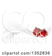 Christmas Background Of 3d Red Baubles Over Snowflakes On Gray