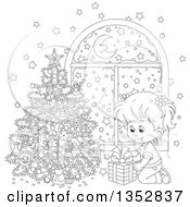 Clipart Of A Cartoon Black And White Girl Putting A Christmas Gift Under A Tree By A Window With Snow Outside Royalty Free Vector Illustration