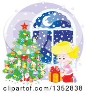 Clipart Of A Blond Caucasian Girl Putting A Christmas Gift Under A Tree By A Window With Snow Outside Royalty Free Vector Illustration