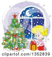 Clipart Of A Cartoon Blond White Girl Putting A Christmas Gift Under A Tree By A Window With Snow Outside Royalty Free Vector Illustration by Alex Bannykh