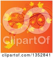 Clipart Of A Gradient Orange Autumn Background With Fall Maple Leaves And Swirl Branches Royalty Free Vector Illustration