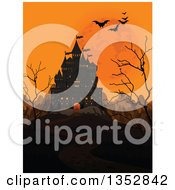Clipart Of A Creepy Haunted Halloween Castle With An Orange Sky Full Moon Mountains Bare Trees And Flying Bats Royalty Free Vector Illustration
