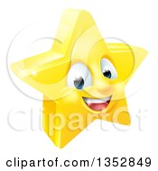 Clipart Of A 3d Happy Golden Star Emoji Emoticon Character Royalty Free Vector Illustration