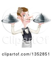 Cartoon Caucasian Male Waiter With A Curling Mustache Holding Two Cloche Platters