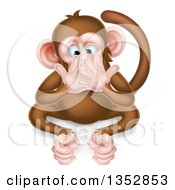 Cartoon Speak No Evil Wise Monkey Covering His Mouth