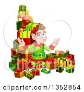 Clipart Of A Brunette Caucasian Male Christmas Elf Surrounded With Gifts Royalty Free Vector Illustration