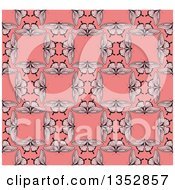 Clipart Of A Seamless Background Pattern Of Vintage Butterflies Forming Squares Over Pink Royalty Free Vector Illustration