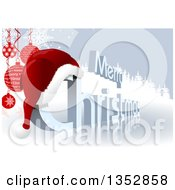 Clipart Of A 3d Merry Christmas Greeting With A Santa Hat Over A Reflective Ice Surface With Suspended Baubles And Evergreen Trees Royalty Free Vector Illustration by dero