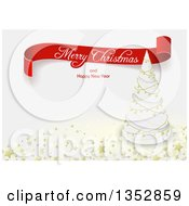 Clipart Of A Red Merry Christmas And Happy New Year Greeting Ribbon Banner Over A White Tree With Gold Garlands And Stars Royalty Free Vector Illustration
