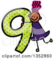 Clipart Of A Doodled Toddler Art Sketched Pink Haired Black Girl On A Giant Green Polka Dot Number Nine Royalty Free Vector Illustration