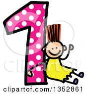 Clipart Of A Doodled Toddler Art Sketched Orange Haired White Girl Waving And Sitting Against A Giant Pink Polka Dot Number One Royalty Free Vector Illustration