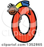 Clipart Of A Doodled Toddler Art Sketched Black Boy On A Giant Orange Striped Dot Number Zero Royalty Free Vector Illustration