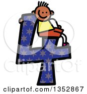 Clipart Of A Doodled Toddler Art Sketched Black Boy Sitting On A Giant Star Patterned Number Four Royalty Free Vector Illustration