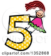 Clipart Of A Doodled Toddler Art Sketched Red Haired White Girl On A Giant Yellow Polka Dot Number Five Royalty Free Vector Illustration