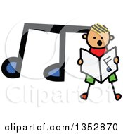 Clipart Of A Doodled Toddler Art Sketched Yellow Haired White Boy Singing Over A Big Music Note Royalty Free Vector Illustration