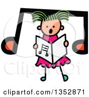 Clipart Of A Doodled Toddler Art Sketched Greeb Haired White Girl Singing Over A Big Music Note Royalty Free Vector Illustration