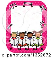 Clipart Of A Doodled Toddler Art Sketched Group Of Children Singing In Chorus Under Music Notes On A Pink Polka Dot Border Royalty Free Vector Illustration