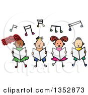 Clipart Of A Doodled Toddler Art Sketched Group Of Four Children Singing Under Music Notes Royalty Free Vector Illustration