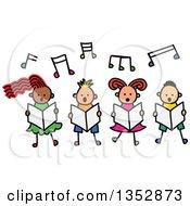 Doodled Toddler Art Sketched Group Of Four Children Singing Under Music Notes
