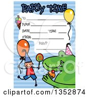 Clipart Of A Doodled Toddler Art Sketched Birthday Party Invitation With A Happy Stick Boy Dinosaur And Lines For Event Details Over Blue Stripes Royalty Free Vector Illustration