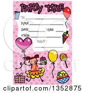 Clipart Of A Doodled Toddler Art Sketched Birthday Party Invitation With A Happy Stick Girl And Lines For Event Details Over Pink Polka Dots Royalty Free Vector Illustration