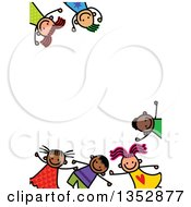 Clipart Of A Doodled Toddler Art Sketched Border Of Happy Children Royalty Free Vector Illustration