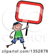 Clipart Of A Doodled Toddler Art Sketched Blue Haired White Boy Holding An Orange Polka Dot Blank Sign Royalty Free Vector Illustration