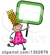 Clipart Of A Doodled Toddler Art Sketched Yellow Haired White Girl Holding A Green Polka Dot Blank Sign Royalty Free Vector Illustration